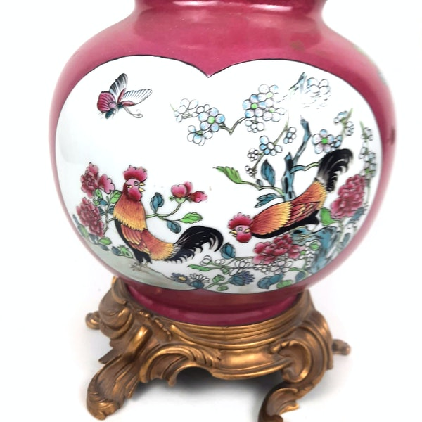 Chinese style French Samson vase converted into a lamp - image 3