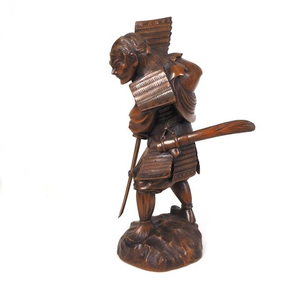 Japanese wood figure of a Samurai - image 4