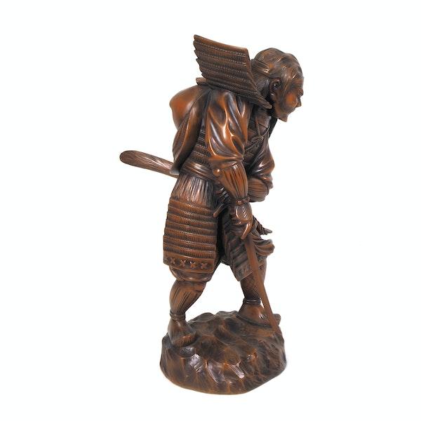 Japanese wood figure of a Samurai - image 2