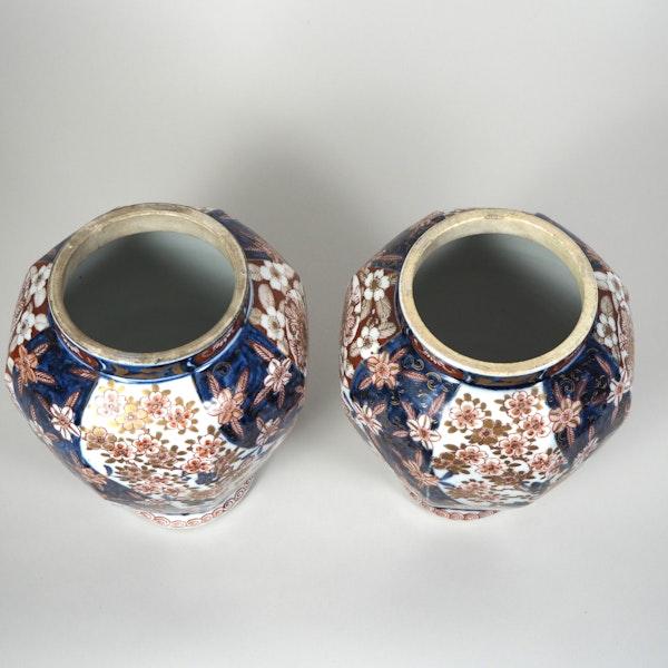 Pair Japanese Imari vases and covers - image 1