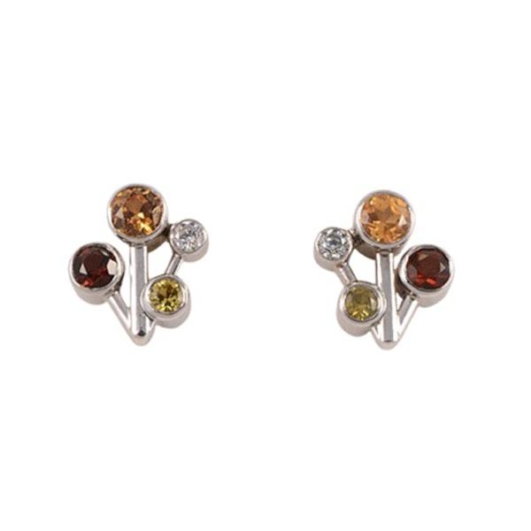 1960s, 18ct White Gold, Diamond, Yellow Sapphire, Mandarin Garnet and Golden Topaz stone set Earrings, SHAPIRO & Co since1979 - image 1