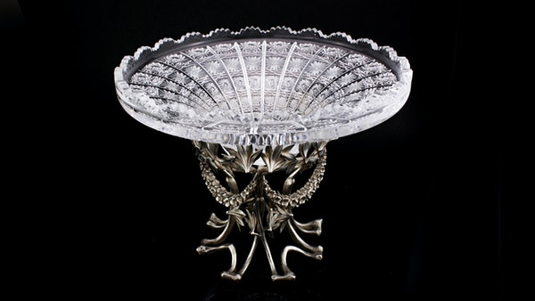 Faberge silver and glass vase, Moscow 1890s. - image 1