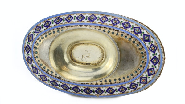 Russian silver enamel dish, 1890s by Ovchinnikov - image 4