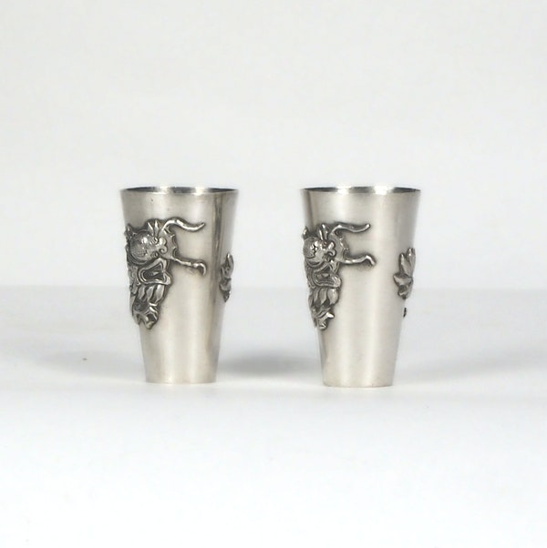 Pair Chinese silver shot glasses - image 5