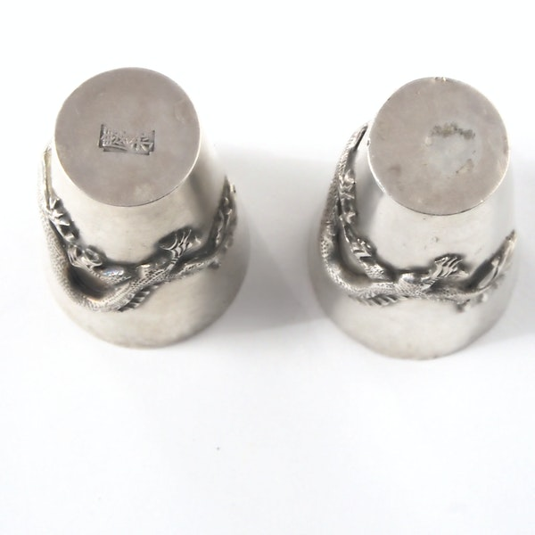 Pair Chinese silver shot glasses - image 2