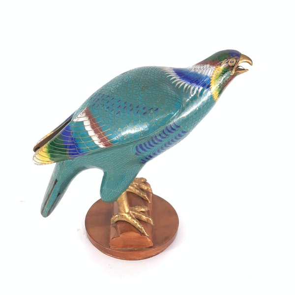 A Chinese cloisonné sculpture of a hawk - image 7