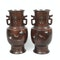 Pair Japanese bronze vases with sparrow decoration - image 8