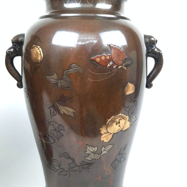 Pair Japanese bronze vases with kingfishers - image 3