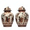 Pair Japanese Kutani vases decorated with crowds of people - image 4