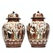 Pair Japanese Kutani vases decorated with crowds of people - image 3