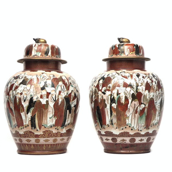 Pair Japanese Kutani vases decorated with crowds of people - image 2