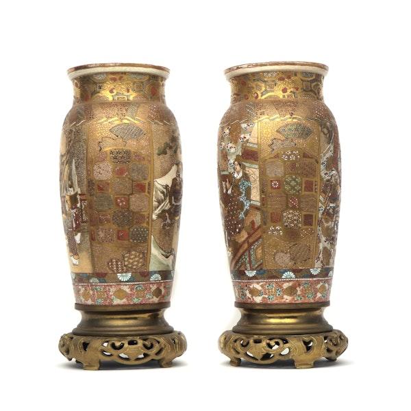 Pair Japanese Satsuma Vases with decoration of Samurai - image 4