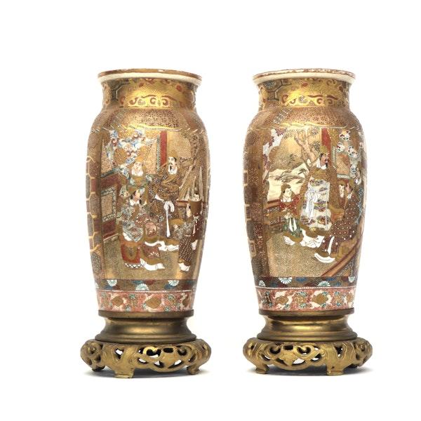 Pair Japanese Satsuma Vases with decoration of Samurai - image 2
