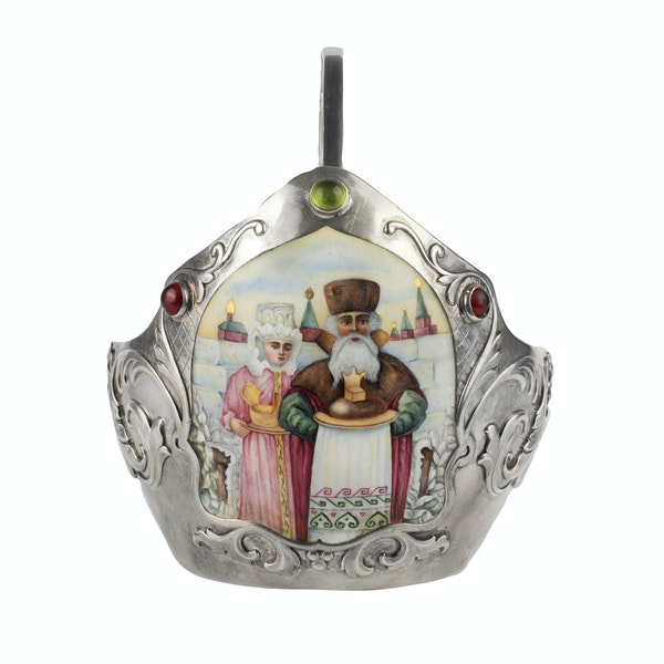 Russian silver and pictorial enamel kovsh, Moscow, c.1890 Kurlyukov - image 2