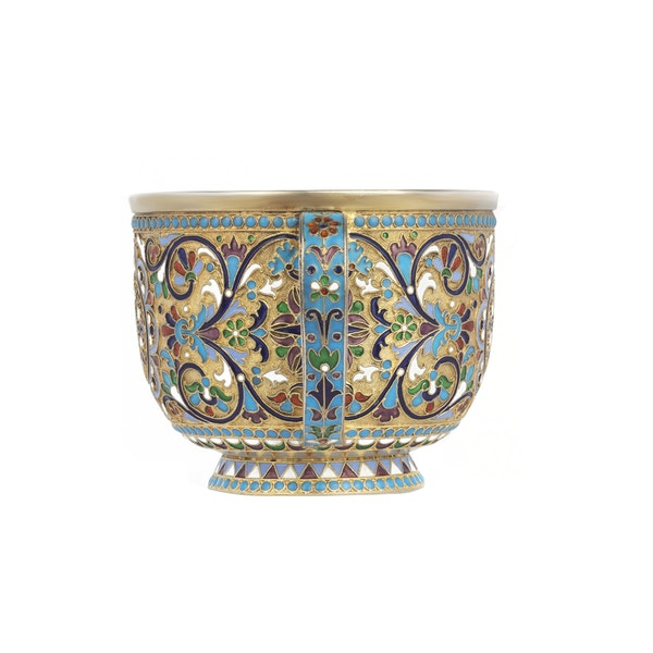 Russian silver-gilt and cloisonné enamel cup and saucer, Nemirov-Kolodkin, Moscow, c.1890 - image 3