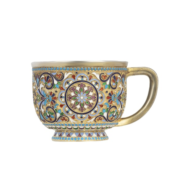 Russian silver-gilt and cloisonné enamel cup and saucer, Nemirov-Kolodkin, Moscow, c.1890 - image 2