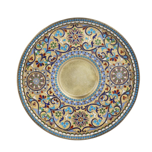 Russian silver-gilt and cloisonné enamel cup and saucer, Nemirov-Kolodkin, Moscow, c.1890 - image 5