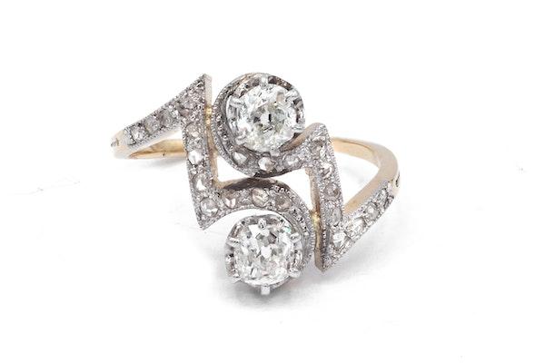 """Art Deco  Diamond """" toi et moi """" two stone Ring - image 2"""