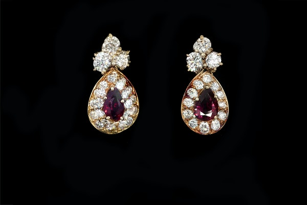 Ruby and diamond earrings - image 1