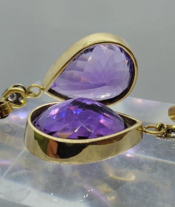 Beautiful Amethyst Pear Drop Earrings - image 2