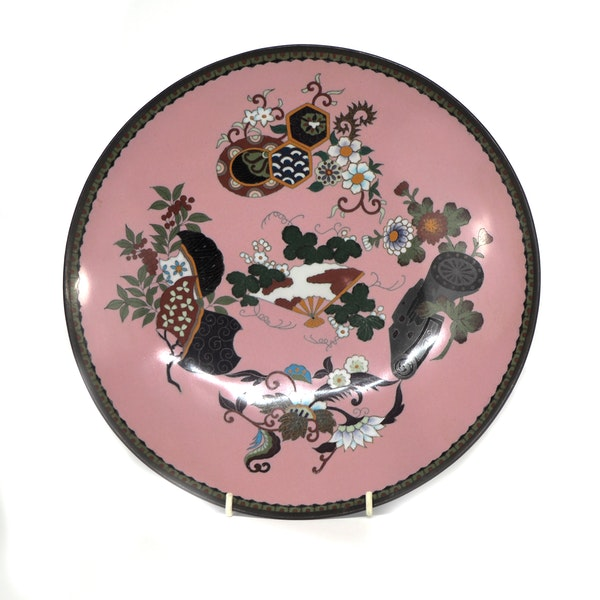 Pair Japanese cloisonne plates with decoration of flowers and fans - image 3