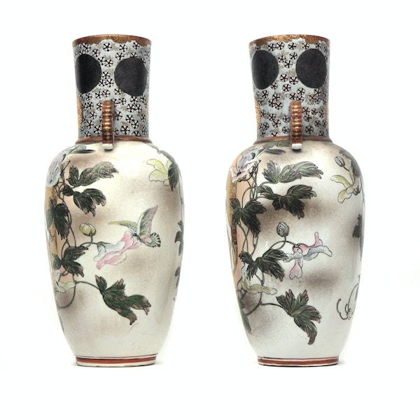 Pair of Japanese Kutani Vases showing a portrait of a lady - image 2