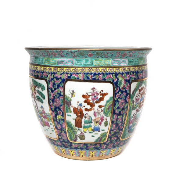 Chinese polychrome Jardiniere  fish bowl - image 2