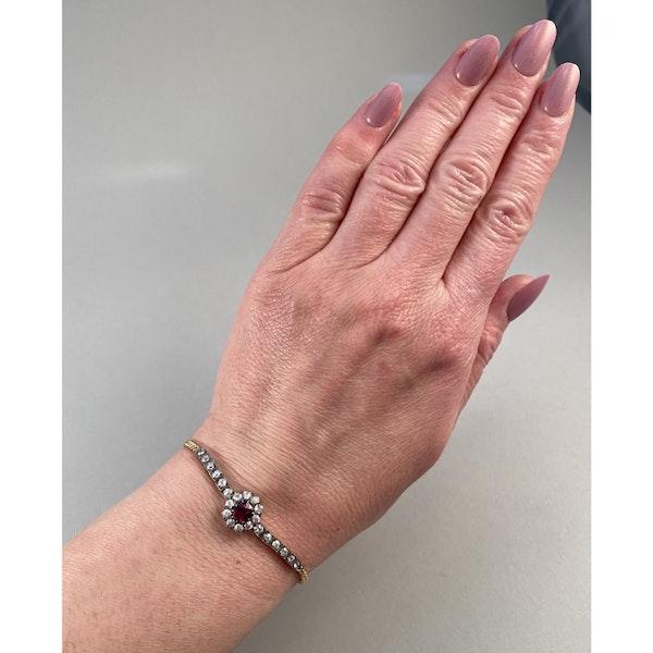 Date: circa 1905, 18ct Yellow Gold & Platinum, Ruby & Diamond stone set Bracelet, SHAPIRO & Co since1979 - image 5