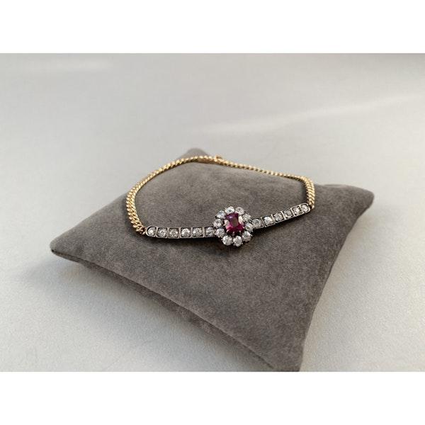 Date: circa 1905, 18ct Yellow Gold & Platinum, Ruby & Diamond stone set Bracelet, SHAPIRO & Co since1979 - image 7