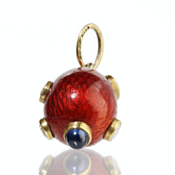 Faberge gold, enamel and diamonds egg pendant, St. Petersburg c.1900 work master August Hollming - image 4