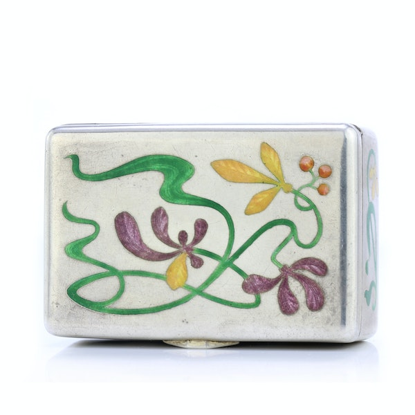 Russian silver and enamel Art Nouveau snuff box by Khlebnikov, Moscow c.1900 - image 2
