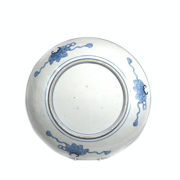 Japanese blue and white rabbit plate - image 2