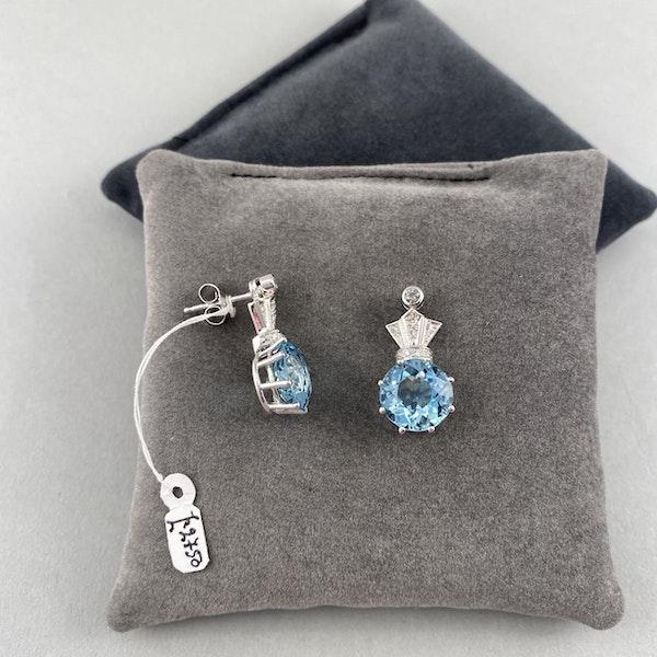 Date: circa 1910, 18ct White Gold Aquamarine & Diamond stone set Earrings, SHAPIRO & Co since1979 - image 4