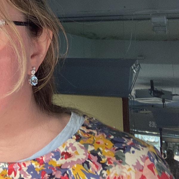 Date: circa 1910, 18ct White Gold Aquamarine & Diamond stone set Earrings, SHAPIRO & Co since1979 - image 2