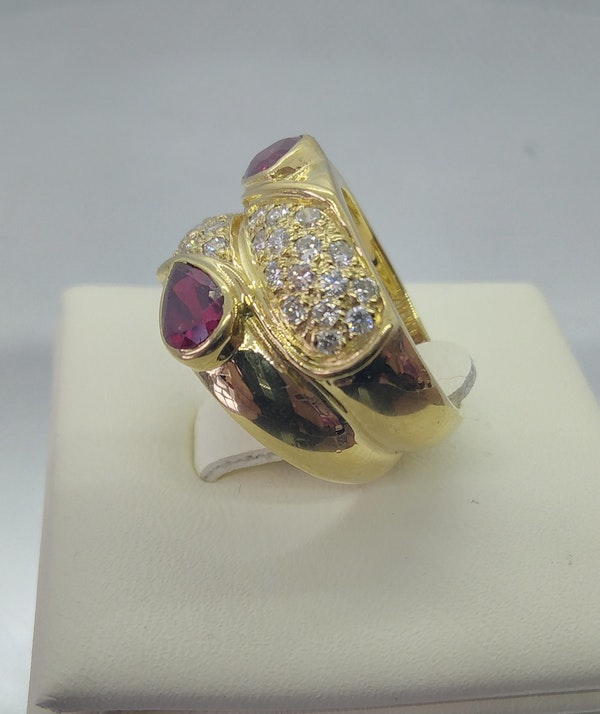 Ruby and Diamond Double Row Gold Ring - image 2