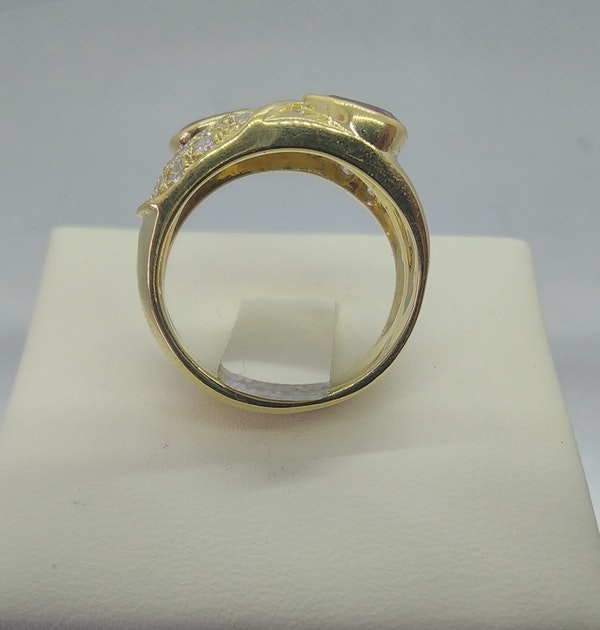 Ruby and Diamond Double Row Gold Ring - image 3