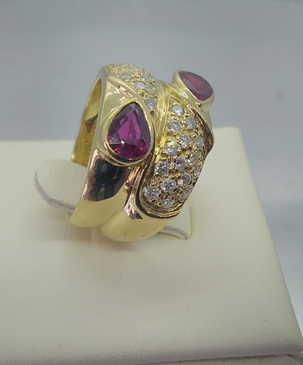 Ruby and Diamond Double Row Gold Ring - image 4