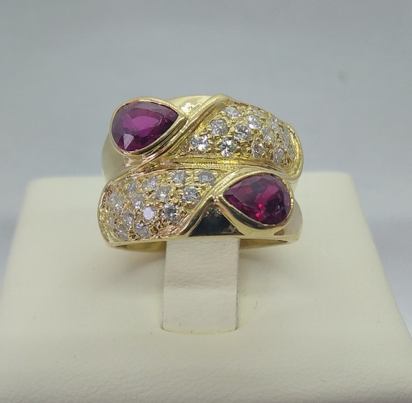 Ruby and Diamond Double Row Gold Ring - image 5