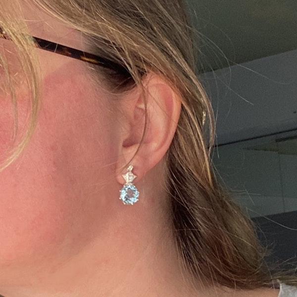 Date: circa 1910, 18ct White Gold Aquamarine & Diamond stone set Earrings, SHAPIRO & Co since1979 - image 5