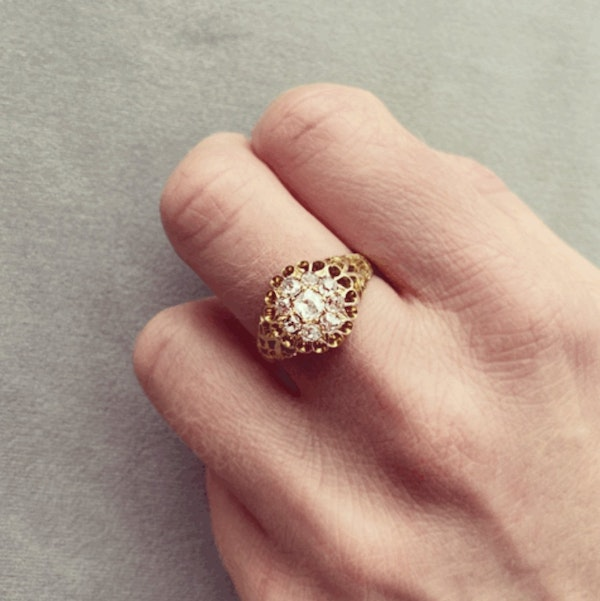 A Victorian Gold Diamond Cluster Ring - image 2