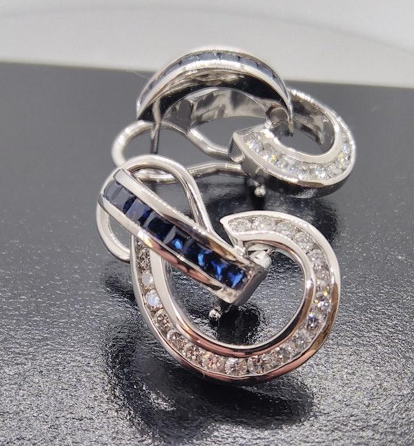 Sapphire and Diamond Swirl Earrings - image 2