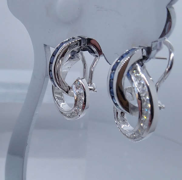 Sapphire and Diamond Swirl Earrings - image 3