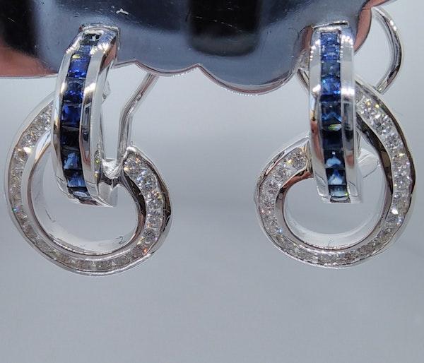 Sapphire and Diamond Swirl Earrings - image 4