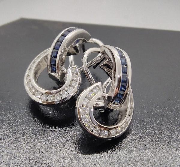 Sapphire and Diamond Swirl Earrings - image 7