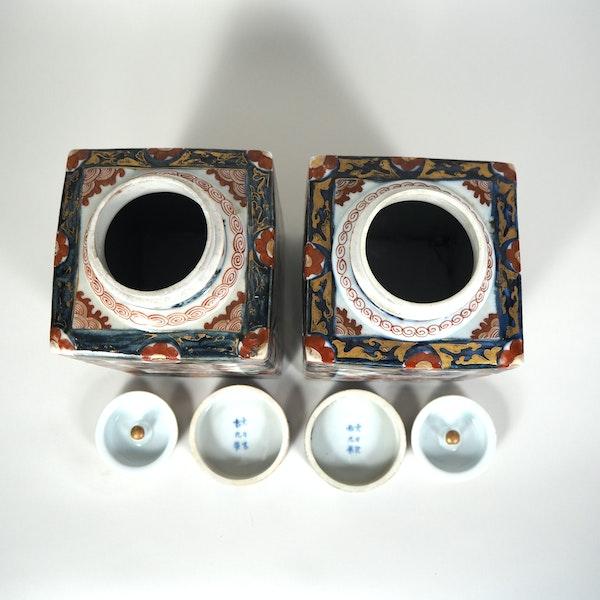 Pair Japanese Imari Tea jars - image 2