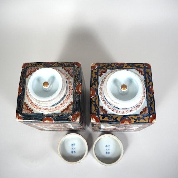 Pair Japanese Imari Tea jars - image 3