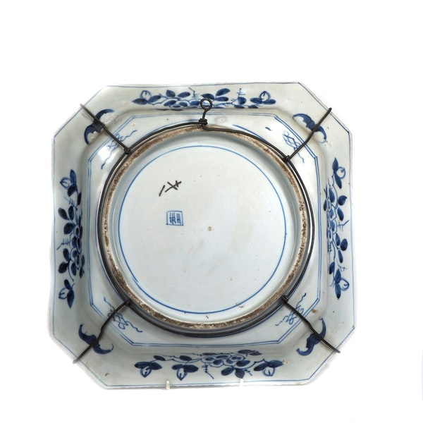 Square blue and white plate - image 2