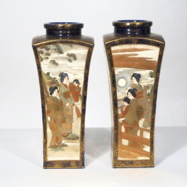 Pair Japanese Satsuma square vases - image 3