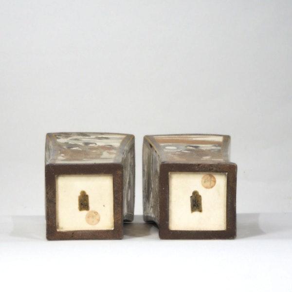 Pair Japanese Satsuma square vases - image 5