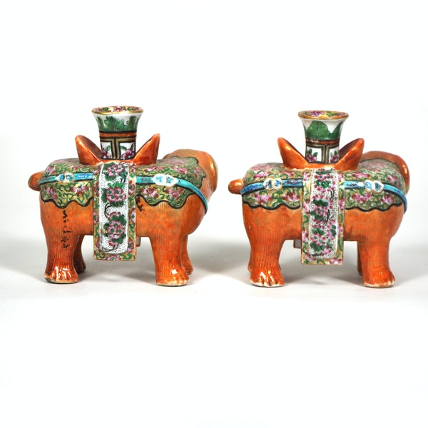 Pair of Chinese elephant candle holders - image 3